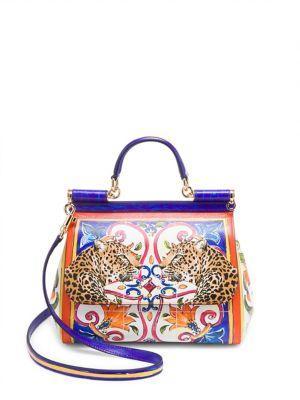 25b2552d87 Dolce   Gabbana Sicily Medium Majolica-Print Leather Bag In Multicolour