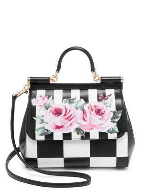 98514e85600e Dolce   Gabbana Medium Sicily Bag In Printed Dauphine Calfskin In Rose-Line