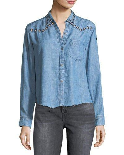 Rails Clayton Button-front Chambray Shirt W/ Grommets In Blue