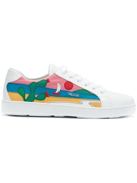 Prada Beach AppliquÉ Sneakers In Multicoloured