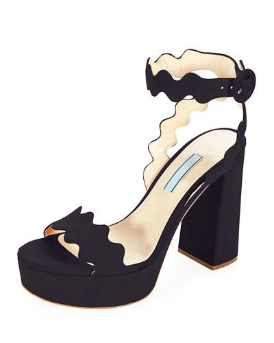1eb98a8446d Prada Scalloped Suede Platform Sandals In Nero
