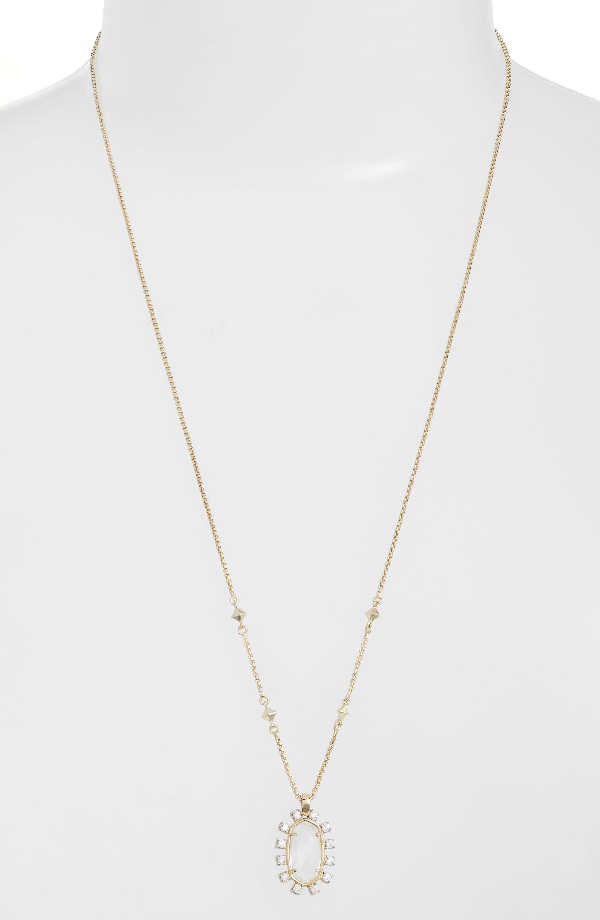 Kendra Scott Convertible Pendant Necklace In Clear/ Gold