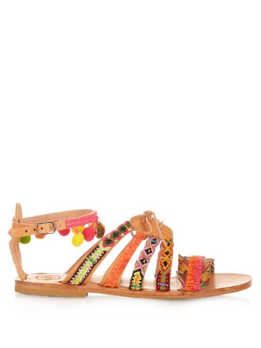 Elina Linardaki Hula Hoop Embellished Leather Flat Sandals In Multi