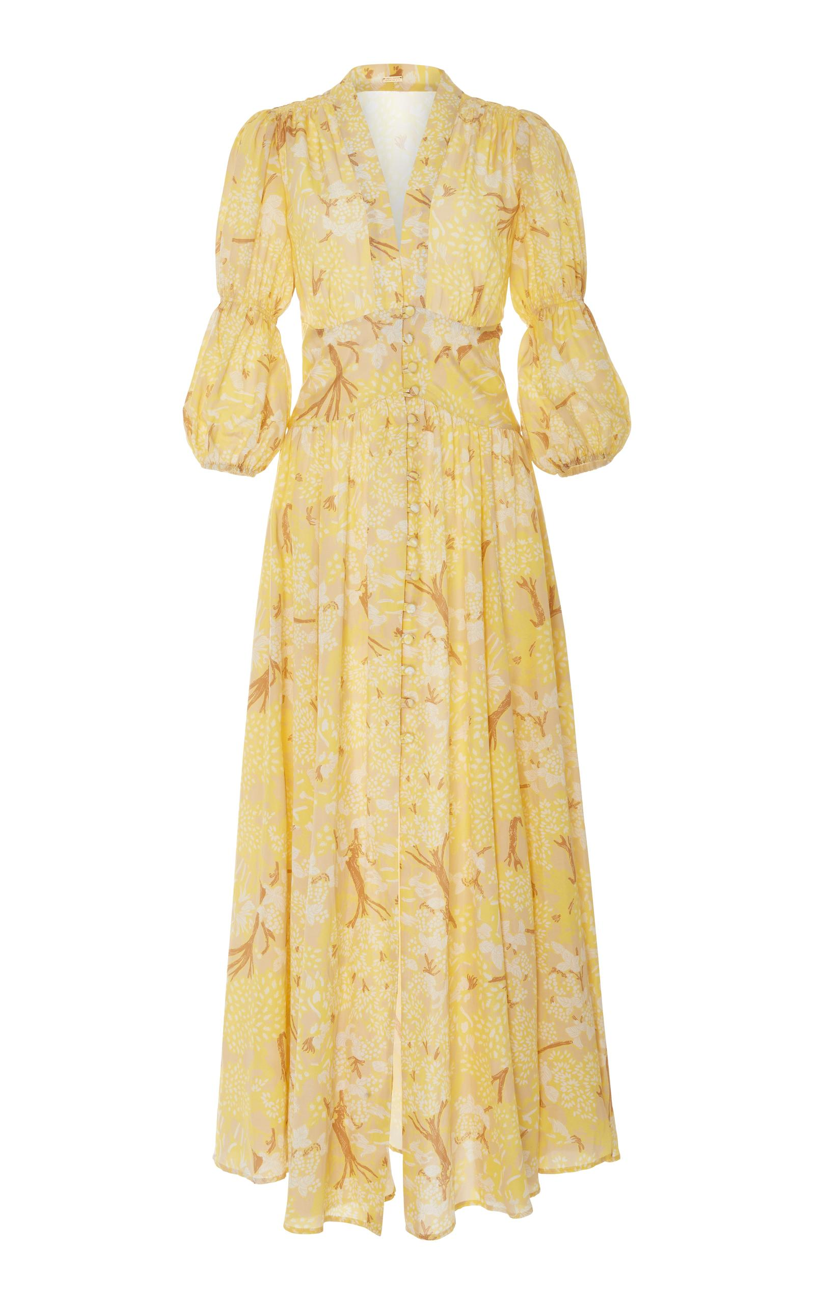 86637bb24f8 Cult Gaia Willow Deep V Prairie Dress In Yellow