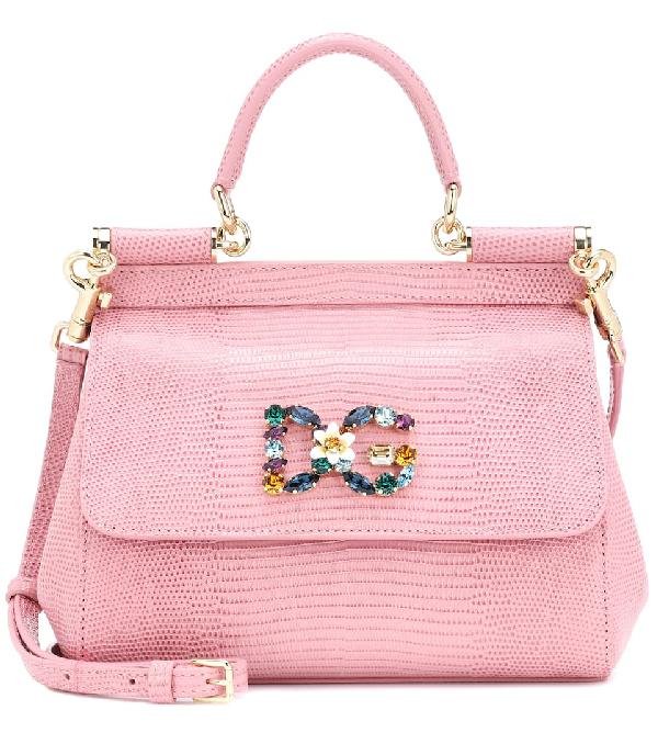 dafde4ebe15 Dolce & Gabbana Small Sicily Handbag In Iguana Print Calfskin With Dg Logo  Crystals In Pink
