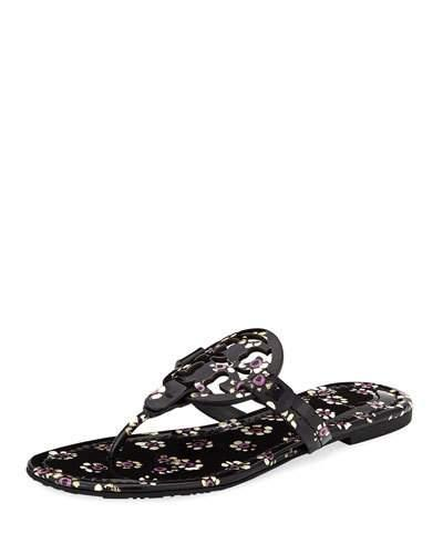 6937d77ce19cbe Tory Burch Women s Miller Patent Leather Thong Sandals In Black Stamped  Floral