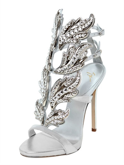 71a0fc25fc4a Giuseppe Zanotti Crystal-Embellished Metallic Leather Wing Sandals In Silver