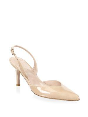 3a104eff2c12 Stuart Weitzman Women s Sleek Patent Leather Slingback Pumps In Bambina
