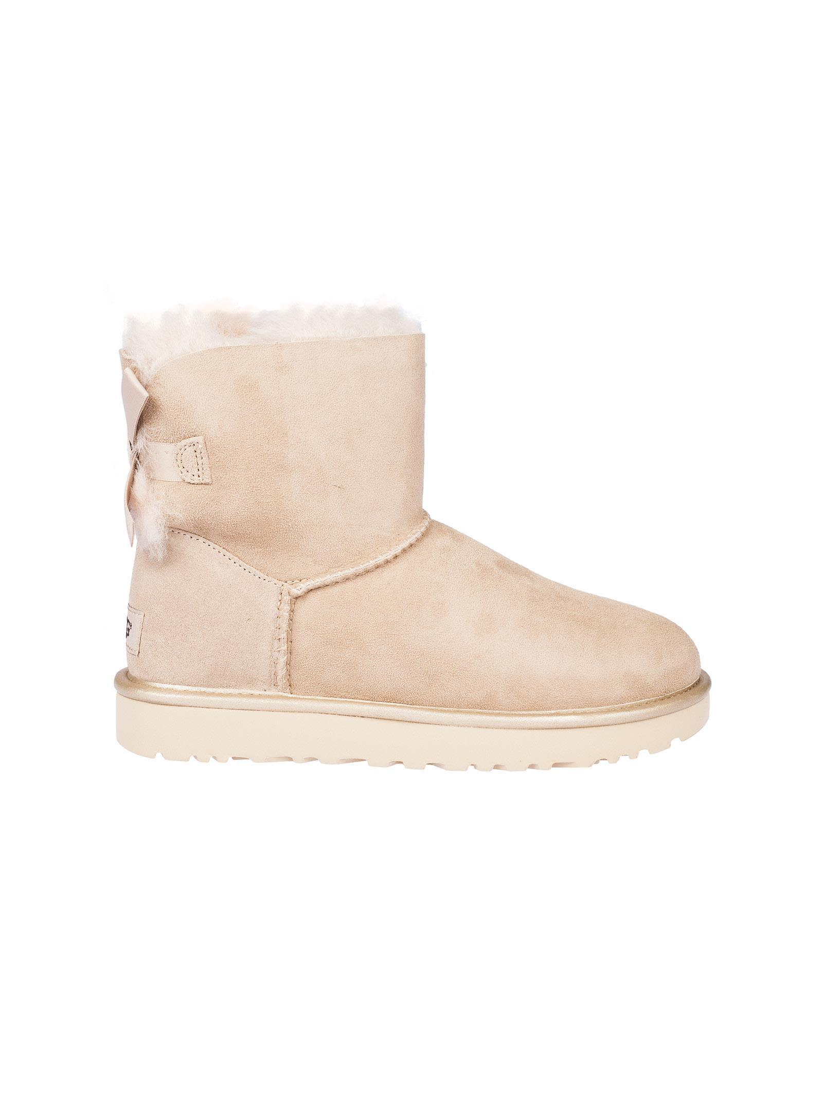 Ugg Mini Bailey Bow Boots In Beige