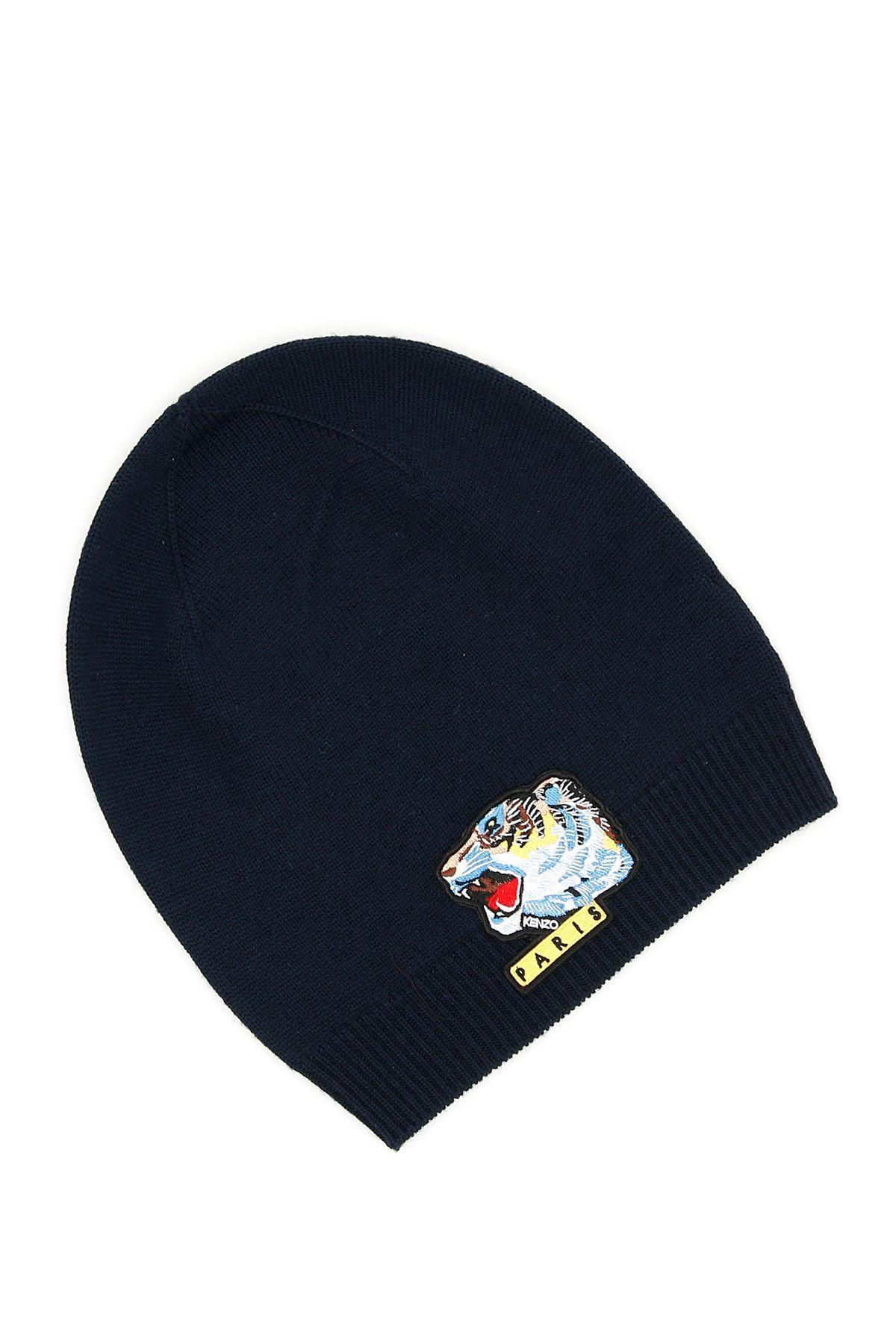 fb50d1e183d Kenzo Tiger Face Beanie In Bleu Marineblu