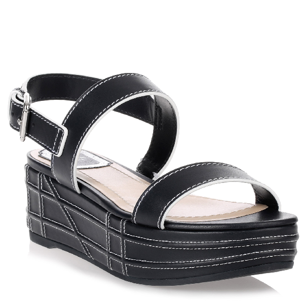 762c9533589e Dior Yacht Navy Leather Sandal In Blue