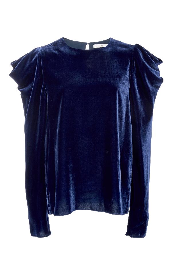 Tibi Draped-sleeved Velvet Top In Navy