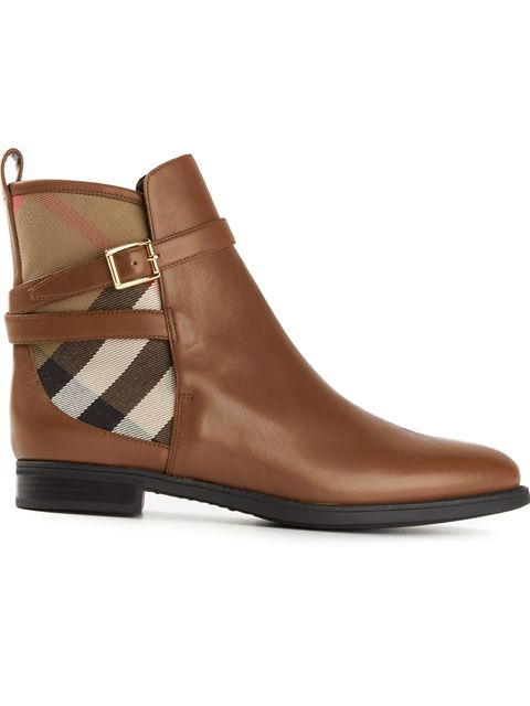 Burberry Strap Detail House Check And Leather Ankle Boots In Chestnut