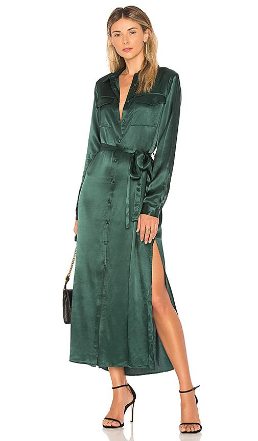 f6012fbdf85 L Academie The Long Sleeve Shirt Dress In Green. In Emerald