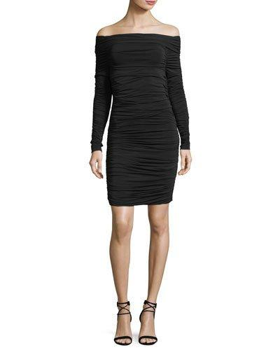 Elizabeth And James Blaise Off-The-Shoulder Long-Sleeve Ruched Dress In Black