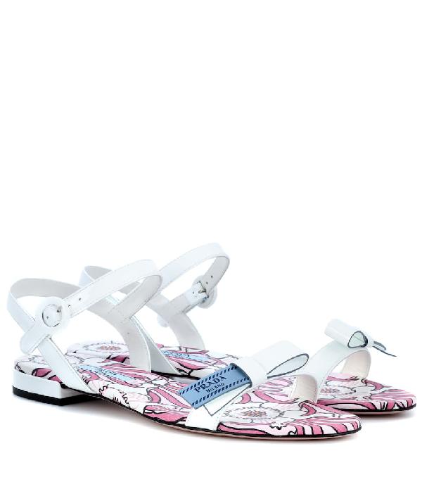 Prada Flat Patent Logo Ribbon Sandal In White