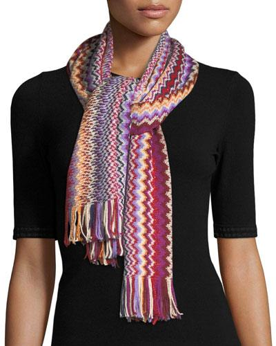 Missoni Zigzag Metallic Scarf In Red