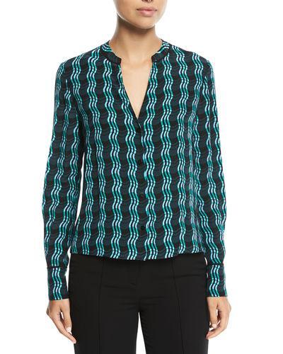 d8d02dfd6b1e0c Diane Von Furstenberg Long-Sleeve V-Neck Silk Shirt In Green