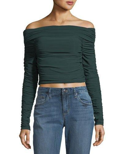 Elizabeth And James Terence Off-The-Shoulder Long-Sleeve Ruched Jersey Top In Green