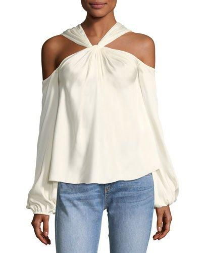 8a3018cafe076 Elizabeth And James Minnie Cold-Shoulder Twist-Front Satin-Twill Top In  Multi
