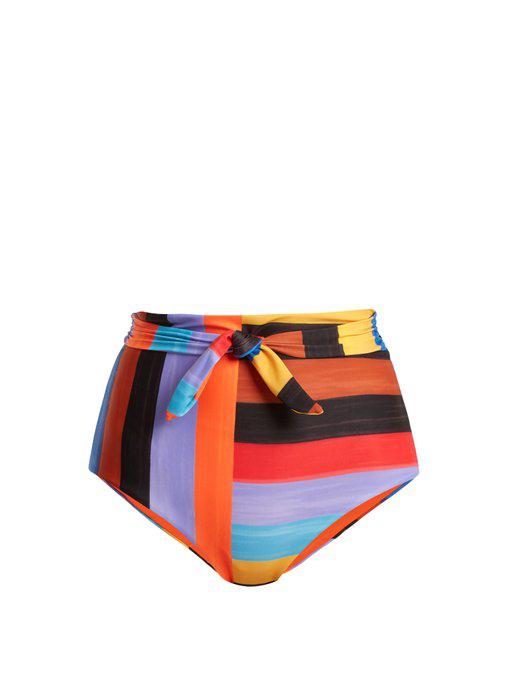 e5af71cb8c418 Mara Hoffman Jay Brushed Stripes High-Waist Swim Bikini Bottom In Black  Multi