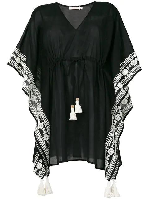 Tory Burch Ravena V-Neck Tie-Waist Cotton Caftan Coverup In Black