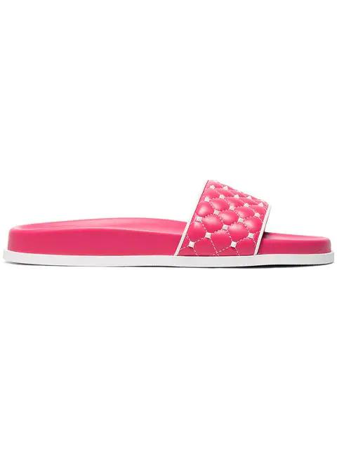 Valentino Free Rockstud Leather Slides In Pink
