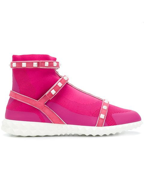 Valentino 30Mm Rockstud Leather Sneakers In 0S3 Pink