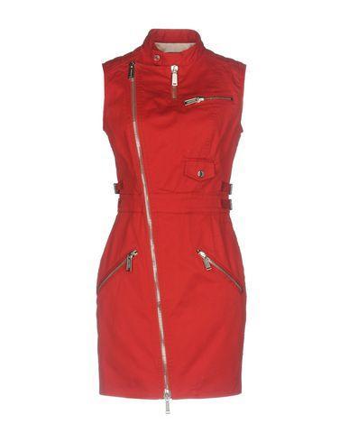 Dsquared2 Red Biker Stretch Gabardine Dress
