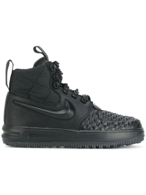 check out 54401 9122c Nike Lunar Force 1 Duckboot Black Leather Sneakers In Black  Black  White