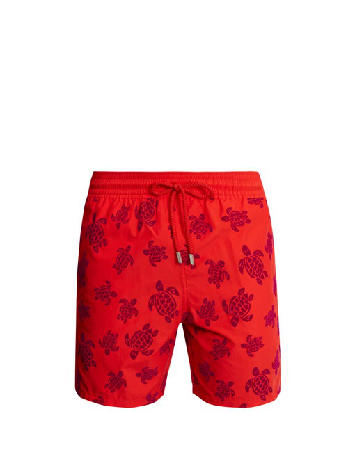 Vilebrequin Moorea Turtles Printed Swim Shorts In Red