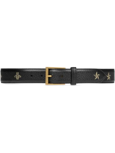 Gucci Star And Bee-Print Leather Belt In Black
