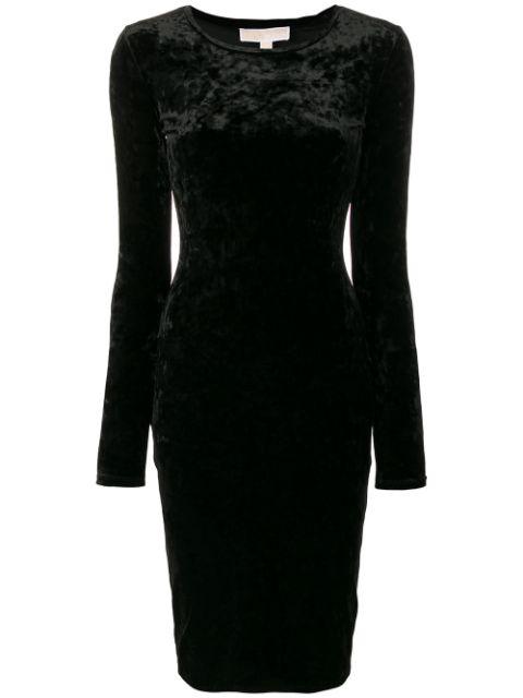 Michael Michael Kors Panne Velvet Crew Dress In Black