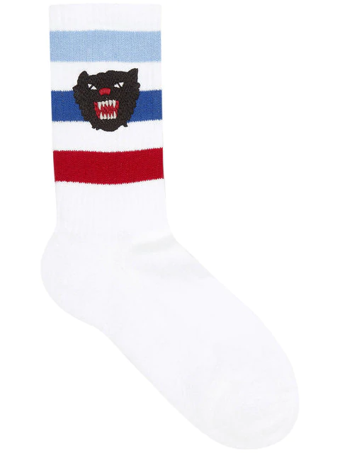 Gucci Stretch Cotton Socks With Panther In 9068 White