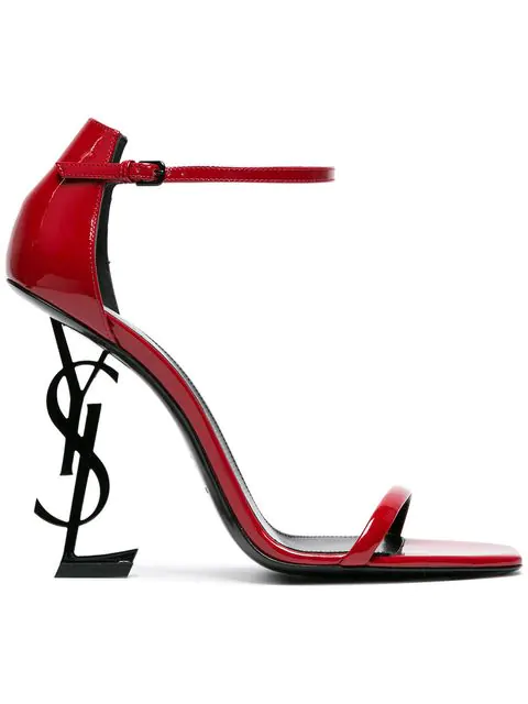 Saint Laurent 110Mm Opyum Patent Leather Sandals In Red