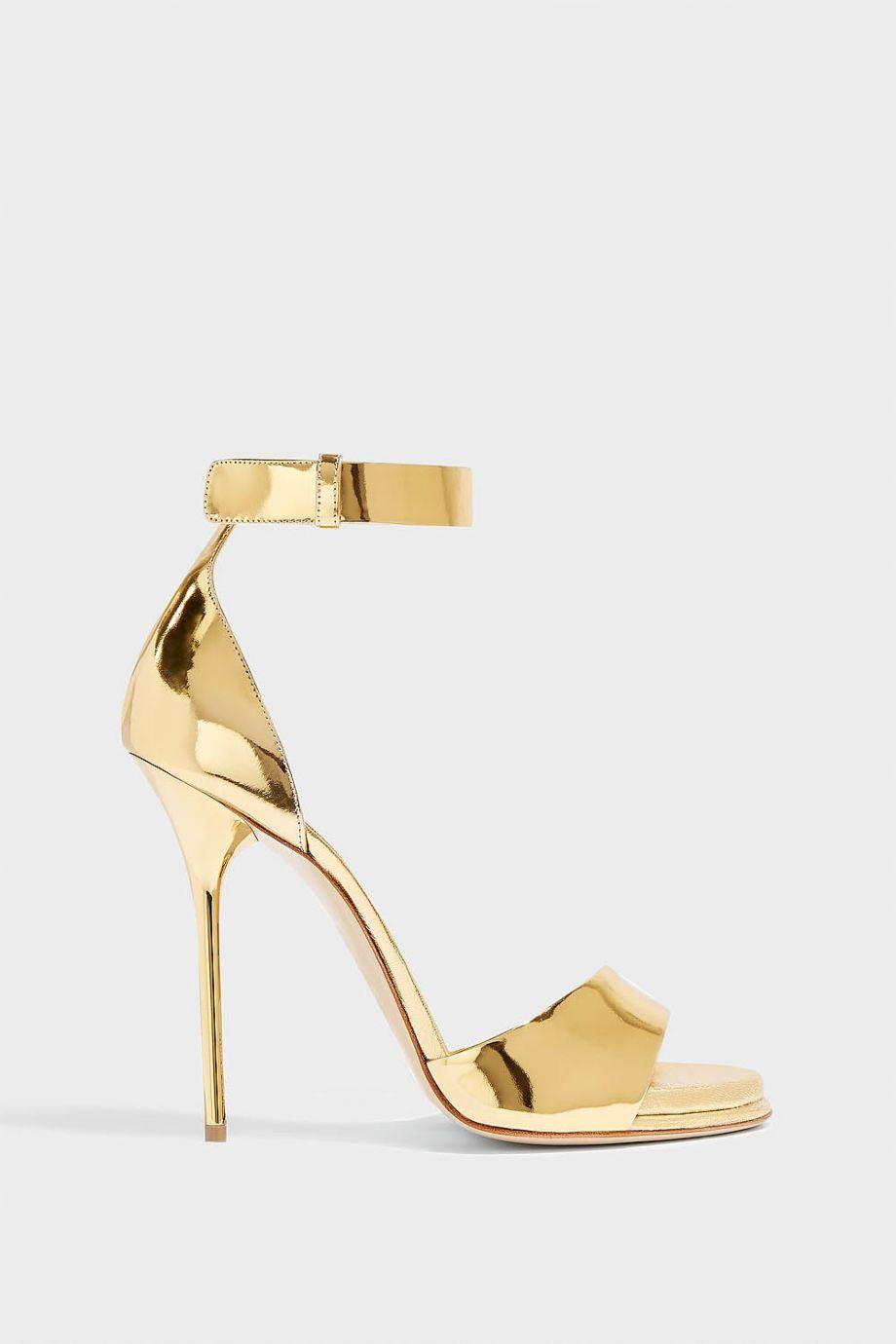 Paul Andrew Pogany Mirrored-Leather Sandals In Gold