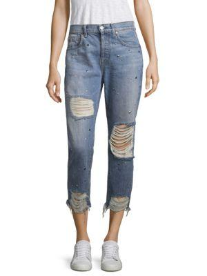7 For All Mankind Josefina Studded High-Rise Distressed Jeans In Studded Vintage
