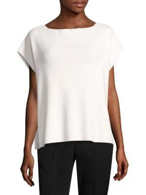 Michael Kors Ribbed Boat-Neck Cap-Sleeve Cashmere-Stretch Sweater In White