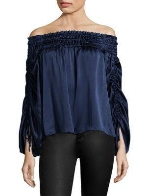 d2462b274edc6f Parker Valentino Ruched Off-The-Shoulder Silk Blouse In Adriatic ...