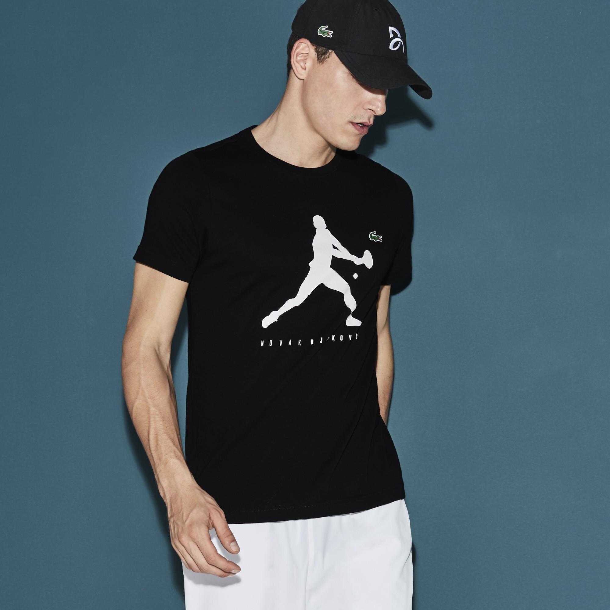 Lacoste Men S Sport Tennis T Shirt Novak Djokovic Supporter Collection In Black Modesens