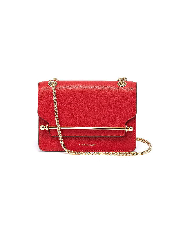 Strathberry 'east/west' Mini Calfskin Leather Crossbody Bag In Ruby