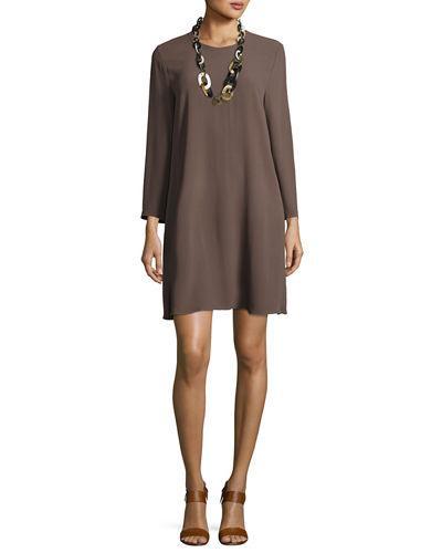 Eileen Fisher Bracelet-sleeve Silk Georgette Dress, Petite In Cobblestone