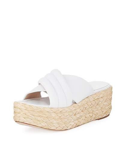 fcc043f0cb9 Stuart Weitzman Pufftopraffia Woven Wedge Platform Sandal In White ...