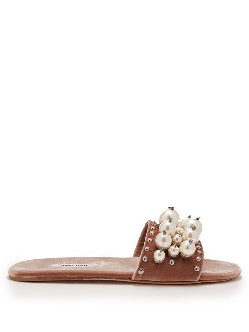 bc5d42f35c08 Miu Miu Imitation Pearl Embellished Slide Sandal In Pink