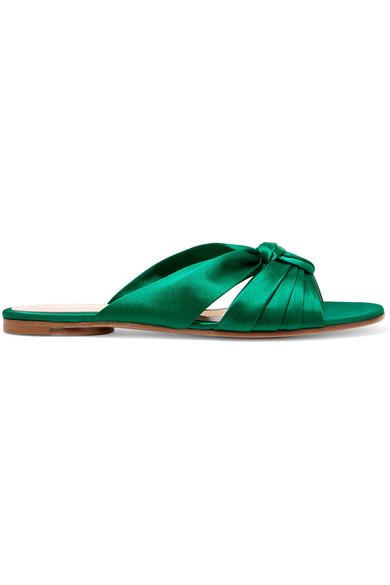 Gianvito Rossi Blair Satin Sandals - Olive In Emerald