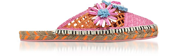 Sophia Webster Jute And Leather Tansy Espadrille Slippers In Pink