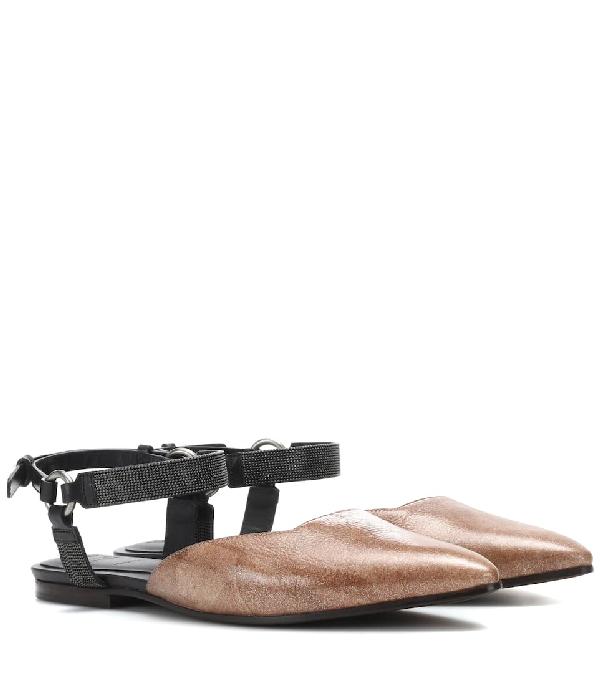 f13202aae1e0a Brunello Cucinelli Metallic Leather Mule With Monili Ankle Strap In Brown