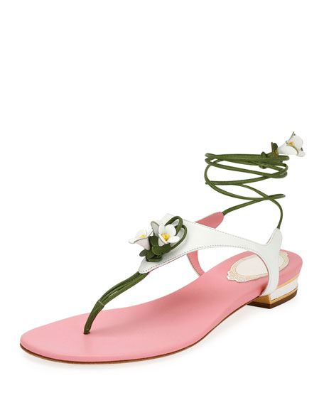61fc20edc RenÉ Caovilla Flower-Tie Flat Thong Sandals In White Pink Green ...