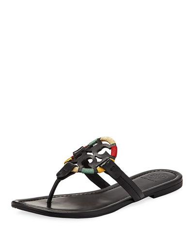 a5d4cf8d1 Tory Burch Miller Flat Embroidered Medallion Sandal In Black  Multi ...