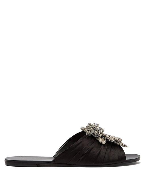 Sophia Webster Lilico Crystal Ruched Satin Slide Sandals In Black Silver
